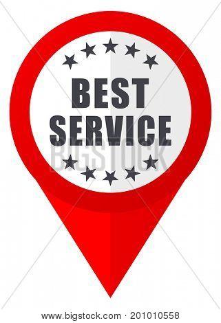 Best service red web pointer icon. Webdesign button on white background.