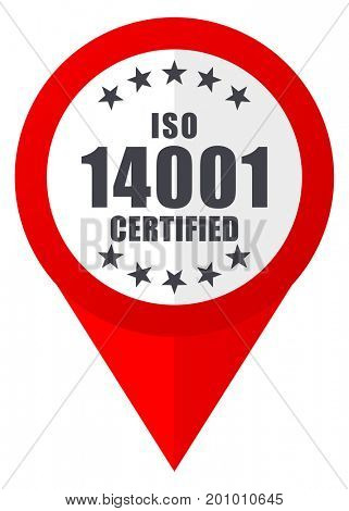 Iso 14001 red web pointer icon. Webdesign button on white background.