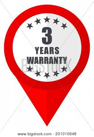 Warranty guarantee 3 year red web pointer icon. Webdesign button on white background.
