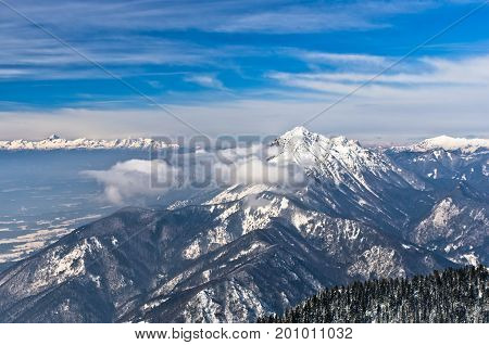 Sunny morning at the south side of the alps, mount Krvavec, slovenian alps, Slovenia