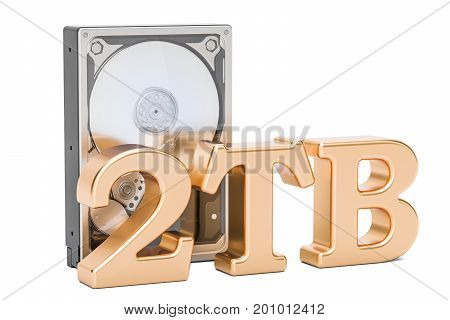 Hard Disk Drive (HDD) 2 TB. 3D rendering isolated on white background