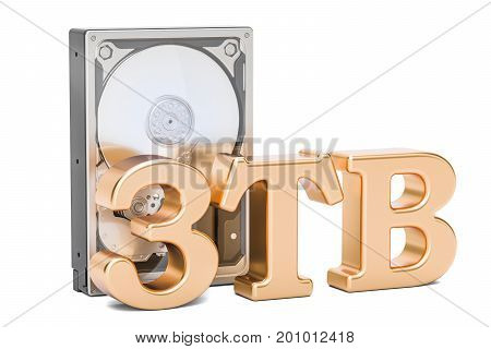 Hard Disk Drive (HDD) 3 TB. 3D rendering isolated on white background