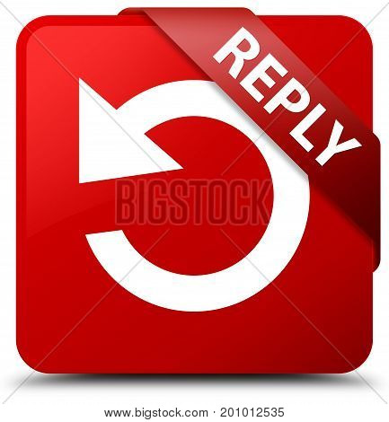 Reply (rotate Arrow Icon) Red Square Button Red Ribbon In Corner