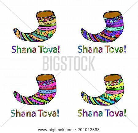 A set of four shofar. Rosh a Shana. Hebrew. Doodle. Hand draw. Vector illustration on isolated background.