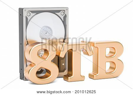 Hard Disk Drive (HDD) 8 TB. 3D rendering isolated on white background
