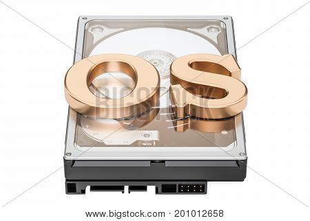 Operation system Hard Disk Drive (HDD) icon concept 3D rendering isolated on white background