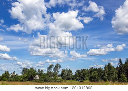 Beautiful summer blue cloudy sky over rustic fields and forest in Latvia