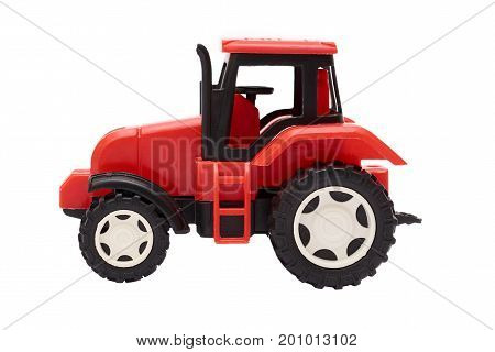 red toy Tractor Isolated on white background.