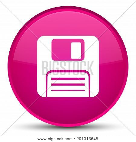 Floppy Disk Icon Special Pink Round Button