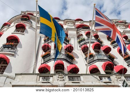 STOCKHOLM - JULY 5, 2017:  The exterior with awnings of Hotel Diplomat in Stockholm. This is a classic luxury waterfront hotel in residential area Ostermalm.