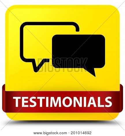 Testimonials Yellow Square Button Red Ribbon In Middle