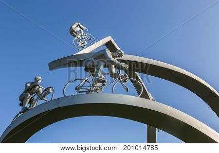 SoumoulouFrance - July 232014: Detail of the monumental sculpture
