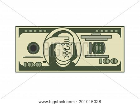 Dollar OMG portrait Franklin. USA money. American currency. Oh my god Benjamin Franklin