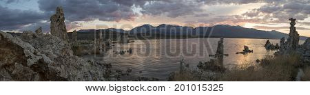 Panorama Of Mono Lake Rock Formations At Sunset