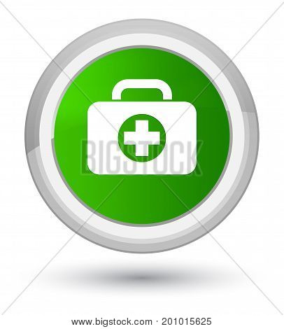 First Aid Kit Bag Icon Prime Green Round Button