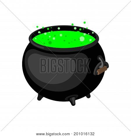 Pot Of Magical Potion Isolated. Witch Accessory. Halloween Illustration.