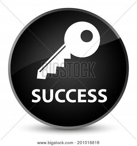 Success (key Icon) Elegant Black Round Button