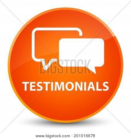 Testimonials Elegant Orange Round Button