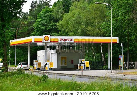 APELDOORN, THE NETHERLANDS - MAY 30, 2017: An unmanned self-service Shell express gas station. Shell, is a British-Dutch multinational oil and gas company.