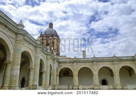 View of the roof and tower of the Santo Domingo Church in Oaxaca Mexico
