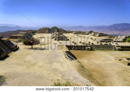 Panoramic view of ruins in Monte Alban Oaxaca in Mexico
