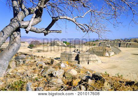 Monte Alban Complex view in Oaxaca Mexico