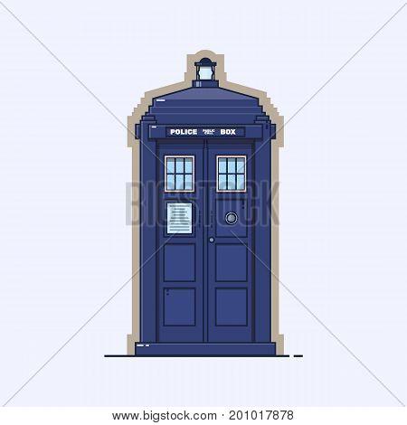 Traditional British police box. Vintage telephone box isolated on white