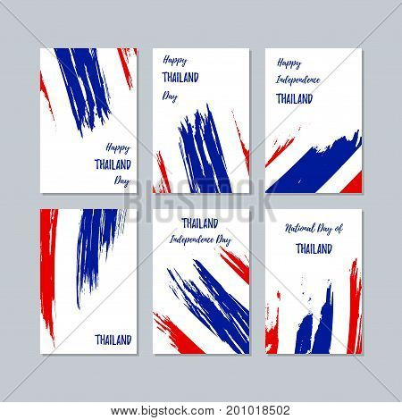 Thailand Patriotic Cards For National Day. Expressive Brush Stroke In National Flag Colors On White