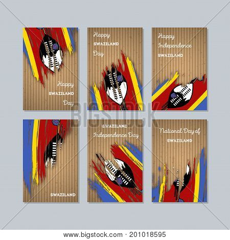 Swaziland Patriotic Cards For National Day. Expressive Brush Stroke In National Flag Colors On Kraft