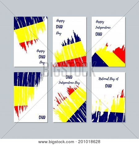 Chad Patriotic Cards For National Day. Expressive Brush Stroke In National Flag Colors On White Card