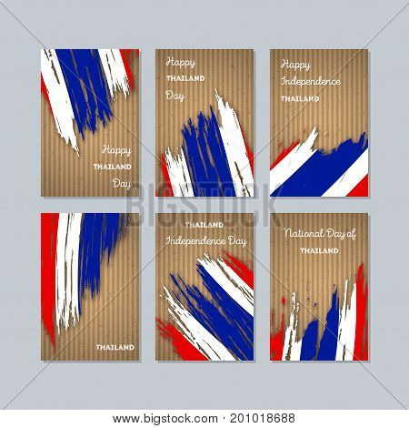 Thailand Patriotic Cards For National Day. Expressive Brush Stroke In National Flag Colors On Kraft