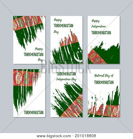 Turkmenistan Patriotic Cards For National Day. Expressive Brush Stroke In National Flag Colors On Wh