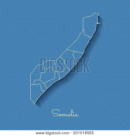 Somalia Region Map: Blue With White Outline And Shadow On Blue Background. Detailed Map Of Somalia R