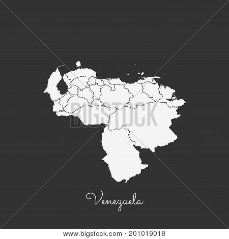 Venezuela Region Map: White Outline On Grey Background. Detailed Map Of Venezuela Regions. Vector Il