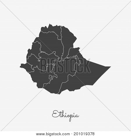 Ethiopia Region Map: Grey Outline On White Background. Detailed Map Of Ethiopia Regions. Vector Illu