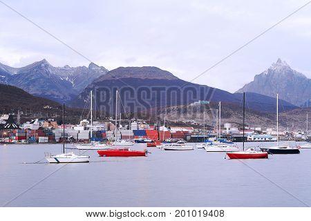 View of the city of Ushuaia Tierra del Fuego Argentina.