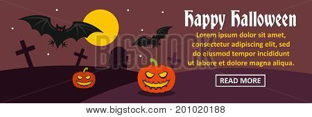 Happy Halloween banner horizontal concept. Flat illustration of happy Halloween banner horizontal vector concept for web