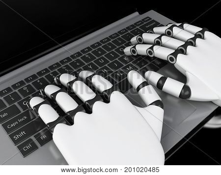 3D Illustration. Robotic Hands Typing On A Notebook Keyboard