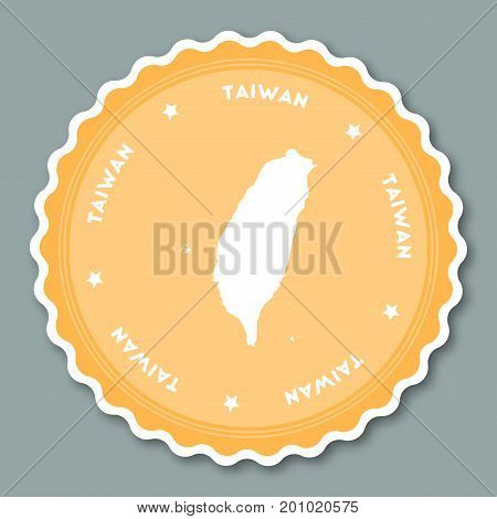 Taiwan, Republic Of China Sticker Flat Design. Round Flat Style Badges Of Trendy Colors With Country