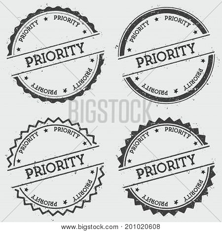Priority Insignia Stamp Isolated On White Background. Grunge Round Hipster Seal With Text, Ink Textu