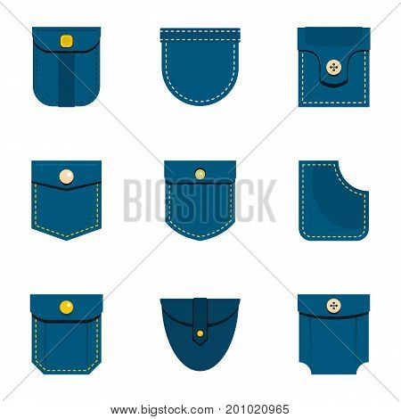 Jeans pocket icon set. Flat set of 9 jeans pocket vector icons for web isolated on white background