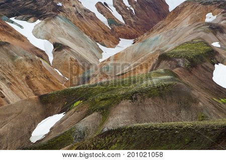 Landmannalaugar National Park. Colorful Slopes Of The Mountains With Snowy Patchwork. Iceland Advent