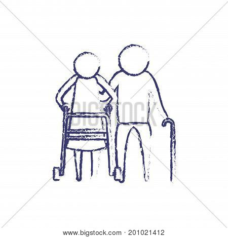 blurred blue silhouette of pictogram elderly couple with in assistence walker and stick in clothes vector illustration