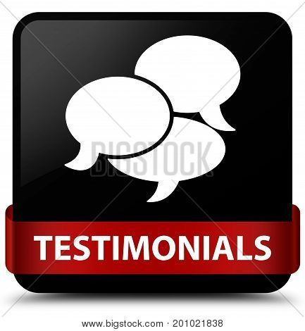 Testimonials (comments Icon) Black Square Button Red Ribbon In Middle