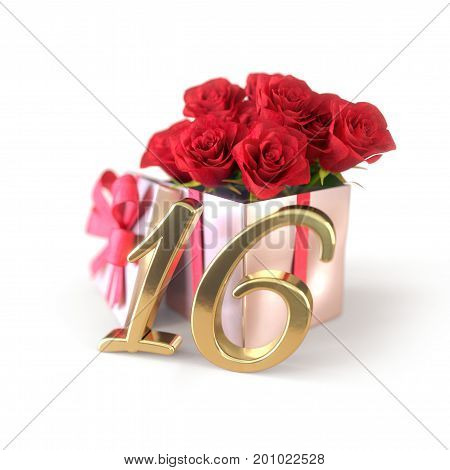 birthday concept with red roses in gift isolated on white background. 3D render - sixteenth birthday. 16th