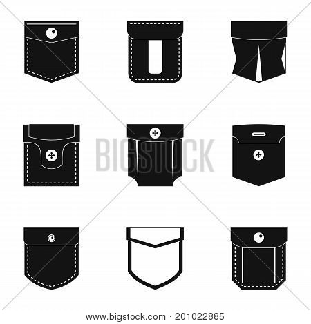 Pocket icon set. Simple set of 9 pocket vector icons for web isolated on white background