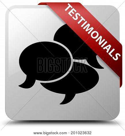 Testimonials (comments Icon) White Square Button Red Ribbon In Corner