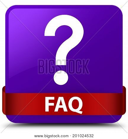 Faq (question Icon) Purple Square Button Red Ribbon In Middle