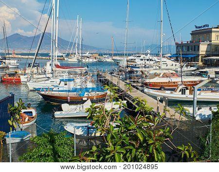 Yachts Moored In Borgo Marinari Harbor. Naples, Italy.