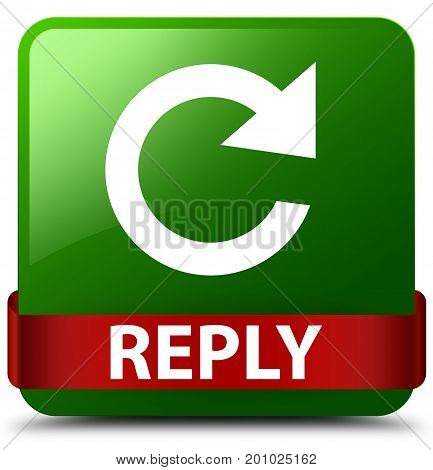 Reply (rotate Arrow Icon) Green Square Button Red Ribbon In Middle